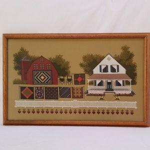 Farm Scene Cross Stitch Rectangle Framed Wall Art